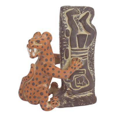 Ceramic sculpture, 'Olmeca Jaguar with Human' - Pre Hispanic Museum Replica Sculpture