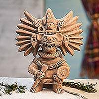 Ceramic sculpture, 'Zapotec Bat Deity Urn' - Collectible Zapotec Ceramic Statuette Museum Replica