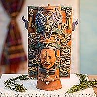 Ceramic sculpture, 'Maya Incense Holder' - Mayan, Incense Holder Museum Replica from Mexico