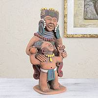 Ceramic sculpture, 'Smiling Mother and Child' - Aztec Mother and Child Sculpture