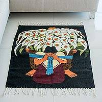 Zapotec wool rug, 'Calla Lily Woman' (2.6x3.3)