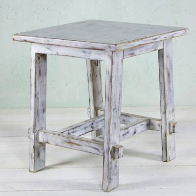 Pleasant Mexican Rustic White Wood End Table Tacambaro White Bralicious Painted Fabric Chair Ideas Braliciousco
