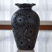 Decorative ceramic vase, 'Ruffled Dahlias' - Ornate Floral Black Pottery Vase