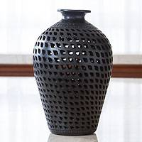 Decorative ceramic vase, 'Leaves in Darkness' - Mexican Cutout Black Pottery Vase