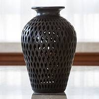 Decorative ceramic vase, 'Night Rain' - Black Pottery Vase
