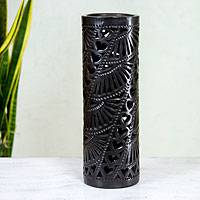 Decorative ceramic vase, 'Floral Hearts' - Black Pottery Vase with Hearts and Flowers