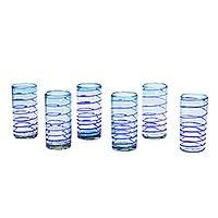 Blown glass tumblers, 'Light Blue Cobalt Spiral' (set of 6) - Handcrafted Blown Glass Tumblers (set of 6)