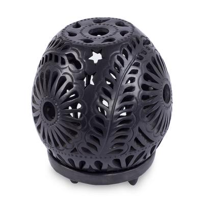 Handmade Mexican Black Pottery Candleholder