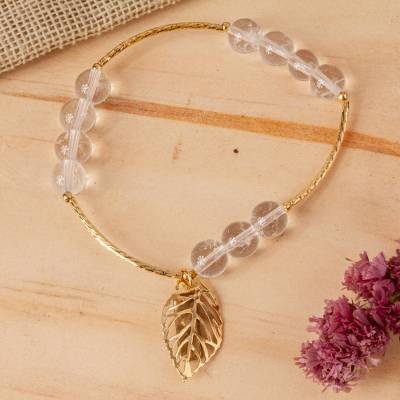 Gold plated quartz stretch bracelet, 'Inner Light' - Artisan Crafted Gold Plated Bracelet with Quartz