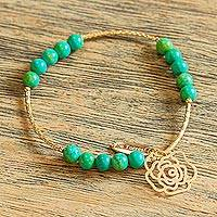 Gold plated stretch bracelet, 'Rose of the Valley' - Handcrafted Gold Plated Bracelet with Recon Turquoise