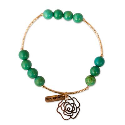 Handcrafted Gold Plated Bracelet with Recon Turquoise