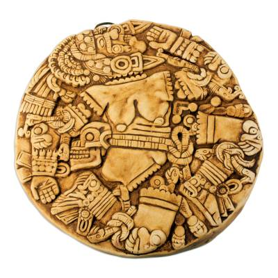 Ceramic plaque, 'Aztec Moon Goddess' - Hand Crafted Archaeological Museum Replica Ceramic Plaque