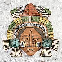 Ceramic mask, 'Warrior of El Tajin' - Polychrome Ceramic Mask from Ancient Mexico