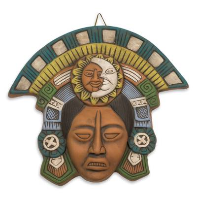 Ceramic mask, 'Teotihuacan Eclipse' - Polychrome Ceramic Mask from Teotihuacan