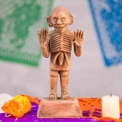 Ceramic sculpture, 'Aztec God of Death' - Mexico Day of the Dead Ceramic Sculpture