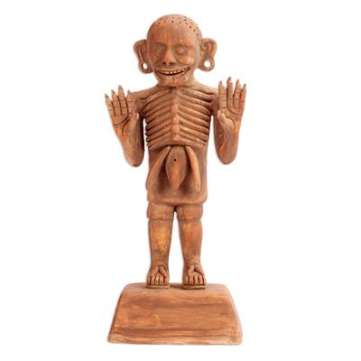Ceramic sculpture, 'Aztec God of Death' - Mexico Day of the Dead Ceramic Sculpture