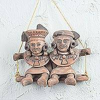 Ceramic wall sculpture, 'Totonac Children' - Mexican Archaeology Ceramic Wall Sculpture