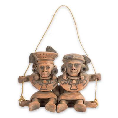 Ceramic wall sculpture, 'Totonac Children' - Mexican Archaeology Ceramic Wall Sculpture