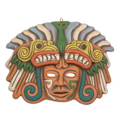 Ceramic mask, 'Quetzalcoatl in Teotihuacan' - Handcrafted Ceramic Mask from Teotihuacan