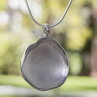 Sterling silver pendant necklace, 'Frozen Apple' - Artisan Crafted Sterling Silver Taxco Necklace