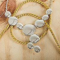 Sterling silver Y-necklace, 'Frozen Apples' - Fair Trade Jewelry Sterling Silver Y-necklace