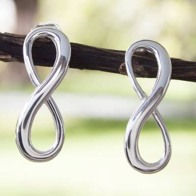 Sterling silver drop earrings, 'Infinite Maya Harmony' - Artisan Crafted Sterling Silver Earrings