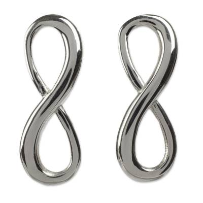 Sterling silver drop earrings, 'Infinite Maya Harmony' - Artisan Crafted Sterling Silver Earrings