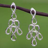 Sterling silver chandelier earrings, 'Infinite Maya Harmony' - Artisan Crafted Sterling Silver Earrings