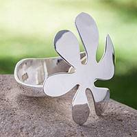 Sterling silver flower ring, 'Blossoming Whimsy' - Artisan Crafted Sterling Silver Taxco Cocktail Ring