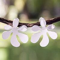 Sterling silver drop earrings, 'Blossoming Whimsy' - Artisan Crafted Sterling Silver Flower Earrings