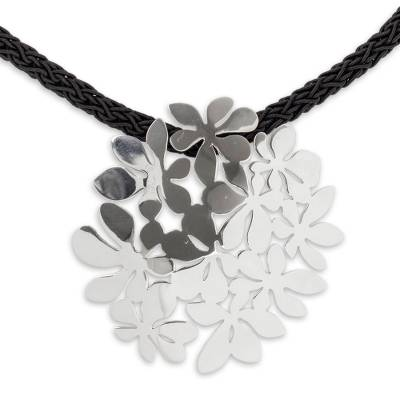 Sterling silver flower necklace, 'Blossoming Whimsy' - Sterling Silver Pendant on Handcrafted Necklace