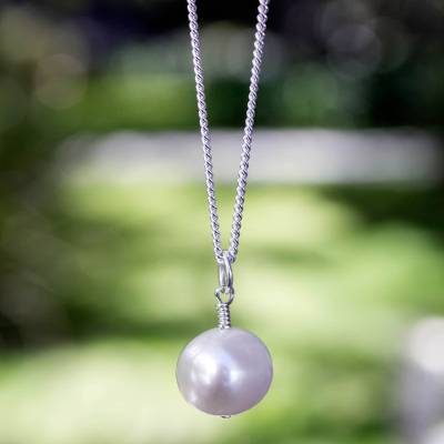 Cultured pearl pendant necklace, 'Radiant Purity' - White Pearl Necklace