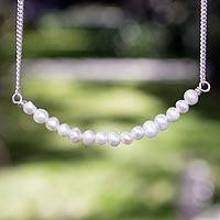Cultured pearl pendant necklace, 'Infinite Purity' - 15 Pearl Pendant Necklace
