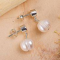 Cultured pearl dangle earrings, 'Radiant Purity' - White Pearl Earrings
