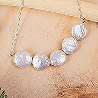 Cultured pearl pendant necklace, 'Pure Elegance' - 5 Pearl Pendant Necklace