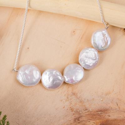 Cultured pearl pendant necklace, 'Pure Elegance' - 5 Pearl Pendant Necklace