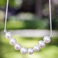 Cultured pearl pendant necklace, 'Sweet Purity'