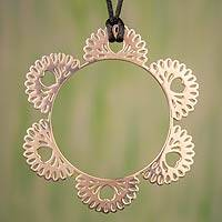 Rose gold plated pendant necklace, 'Joyous Heart' - Modern Rose Gold Necklace