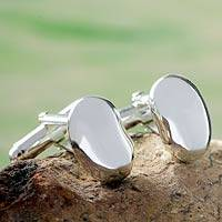Sterling silver cufflinks, 'Seed of Life'