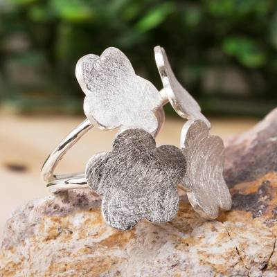 Sterling silver wrap ring, 'Wildflower Quartet' - Flower Wrap Ring