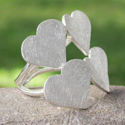 Sterling silver wrap ring, 'Heart Quartet' - Heart Wrap Ring