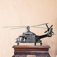Recycled auto parts sculpture, 'Rustic Puma Helicopter' - Collectible Recycled Auto Parts Metal Sculpture