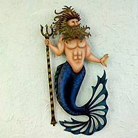 Steel wall sculpture, 'Conch King Triton' - Painted Steel Wall Sculpture from Mexico