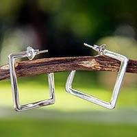 Sterling silver half hoop earrings, 'Dare to be Square' - Handmade Square Half Hoop Earrings