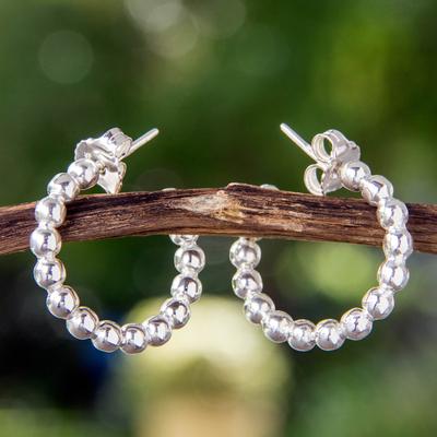 Sterling silver half hoop earrings, 'Moonglow' - Taxco Half Hoop Earrings