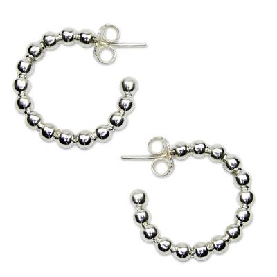 Sterling silver half hoop earrings, 'Moonglow' - Taxco Half Hoop Earrings