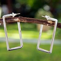 Sterling silver half hoop earrings, 'Geometry' - Rectangular Earrings
