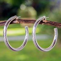 Sterling silver half hoop earrings, 'Halo' - Handcrafted Taxco Silver Half Hoop Earrings