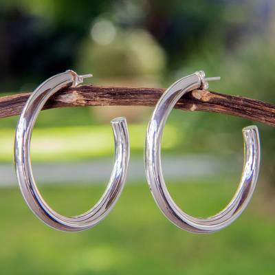 Sterling silver half hoop earrings, Halo