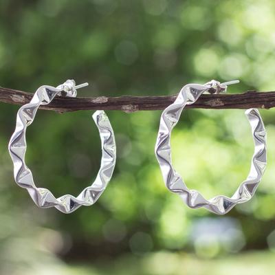 Sterling silver half hoop earrings, 'Ruffles' - Ruffled Silver Half Hoop Earrings